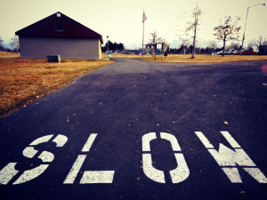 Slow painted on the road