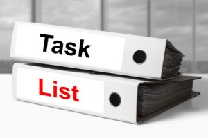 binders labeled task and list