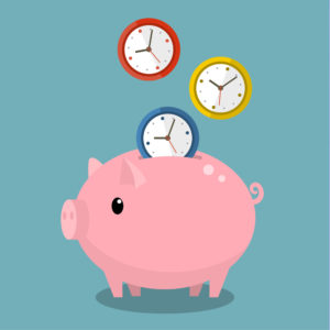 Time is money. Piggy bank with watches